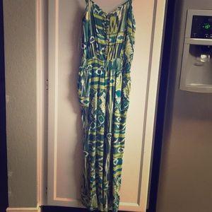 Forever 21 Green Multi Button Sleeveless Dress M